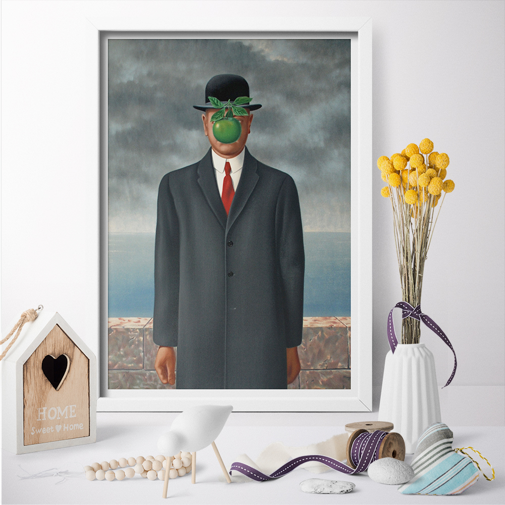 The Son of Man Canvas Painting Surrealist Artwork Wall Art Posters Canvas Prints Picture For Living Room Home Decor No Frame