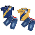 2017 niños que arropan verano de los niños de la ropa del bebé del polo t t-shirt + Jeans Pantalones cortos Para 1 2 3 4 5 6 Años
