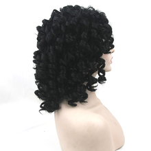 Soowee Black Curly Short Wigs Hairpiece Synthetic Hair Heat Resistant Fiber Party Hair Piece Cosplay Women