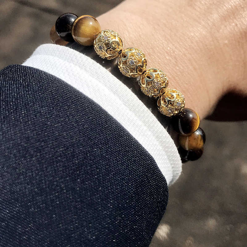 Mcllroy tiger eye stone bracelet men luxury gold ball natural stone lucky beads charms bracelet bangle adjust handmade jewelry