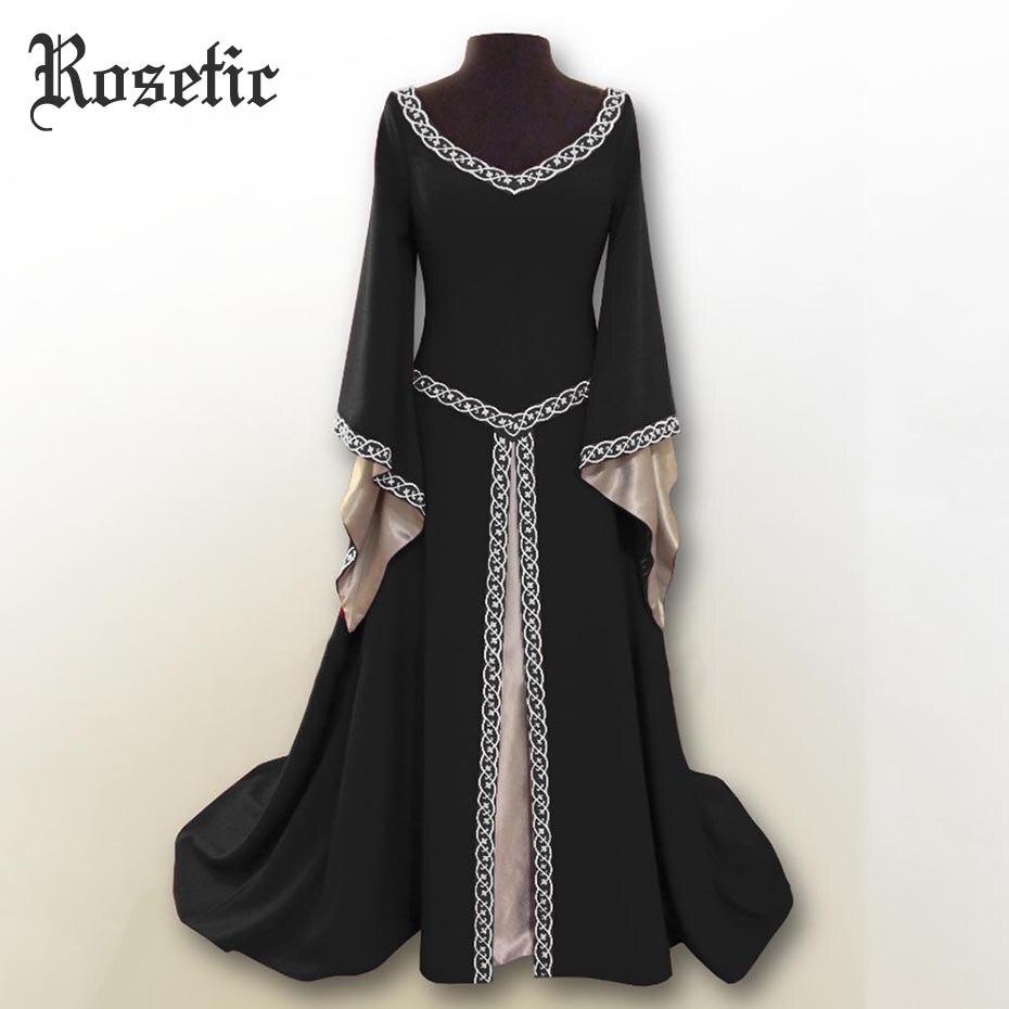 Rosetic Femmes Robes Goth V-cou Irrégulière Manches Longues Médiévale COS Vêtements Robe Femmes Robes Verano 2018 Longue Robe De Soirée