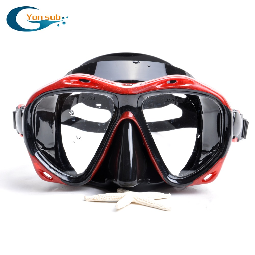 цены Silicone Scuba Professional Adult Diving Mask Set Diving Mask + Dry Snorkel For Snorkelling & Diving YM366 + YS03 Free Shipping