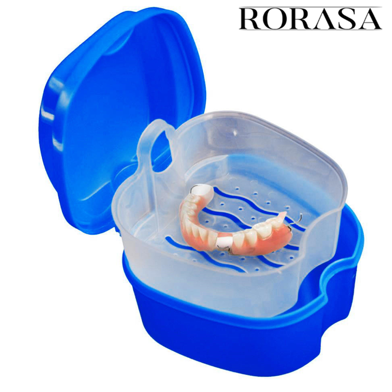 Dental Medical Denture Box Inner Net Hang Full Mouth Plastic Tooth Case Dental False Teeth Storage Box With Hanging Container