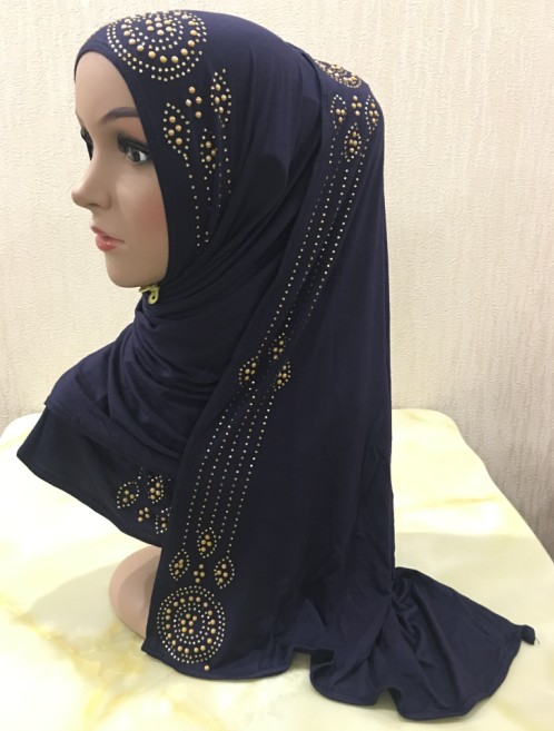H1343 popular soft modal elastic jersey cotton long scarf with rhinestones women s headwrap islamic long