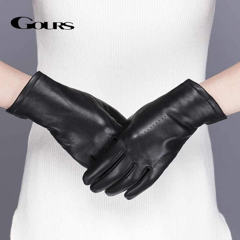 Gours Women's Original Læder Handsker Black Classic Sheepskin Touch Screen Handsker Vinter Tykke Varm Fashion Vanter Ny GSL076