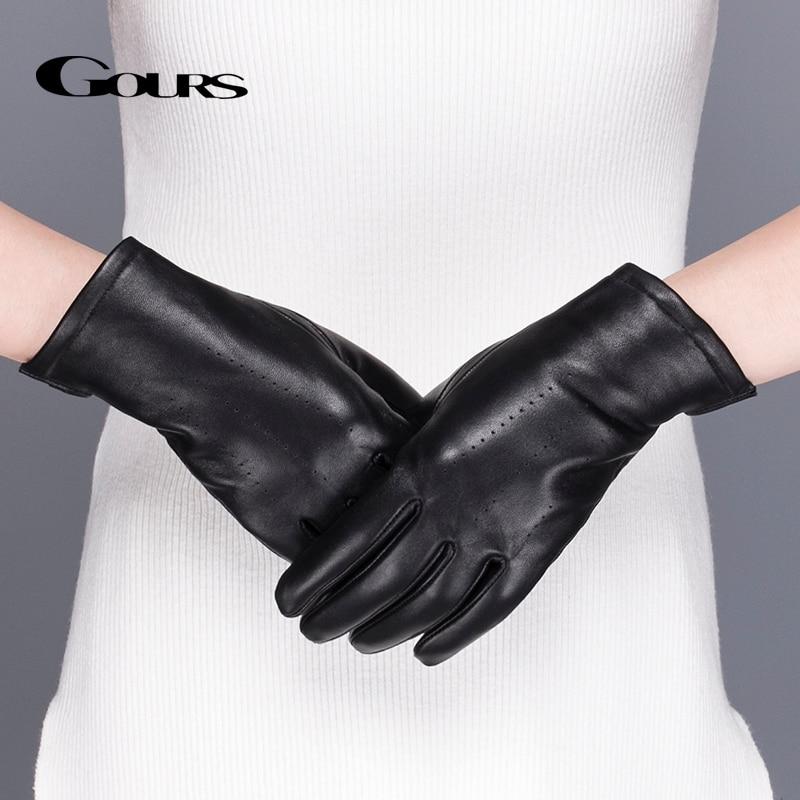 Gours Women's Genuine Leather Gloves Blas