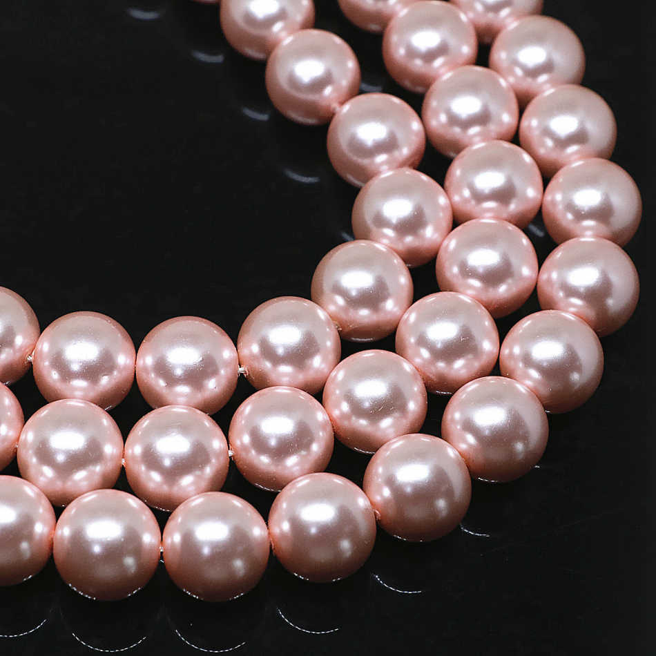 Charming wholesale pink round imitation shell pearl loose beads 4-14mm high grade women hot sale jewelry making 15inch B1613