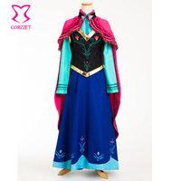 Six pieces Ice Snow Fantasy Dress For Adult Princess Anna Costume Cosplay Sexy Gothic Lolita Halloween Costumes For Women