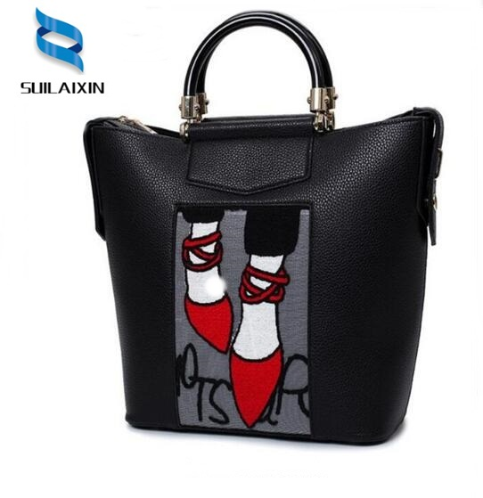 Time-limited Women Embroidery Handbags Brand Famous Leather Bags Ladies Luxury Large Totes Bag Bolsa Feminina High Quality designer women handbags black bucket shoulder bags pu leather ladies cross body bags shopping bag bolsa feminina women s totes