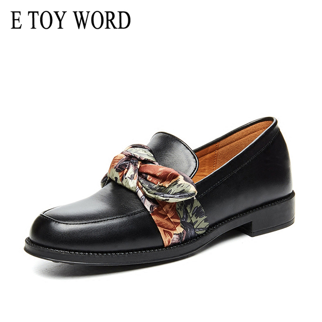 E TOY WORD 2019 Spring silk bow tie shoes Female Flat Casual Shoes Slip On Ladies Shoes black Genuine Leather Shoes Women Flats