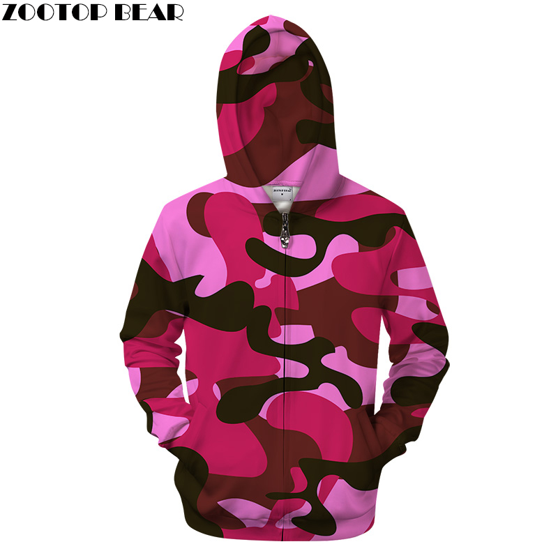 Autumn 3D Pink Camo Print Hoodies Men Women Casual Sweatshirt Zipper Tracksuit Pullover  ...