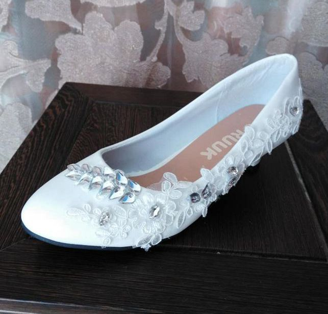 3cm Small Low Heel White Lace Wedding Shoes Woman Silver