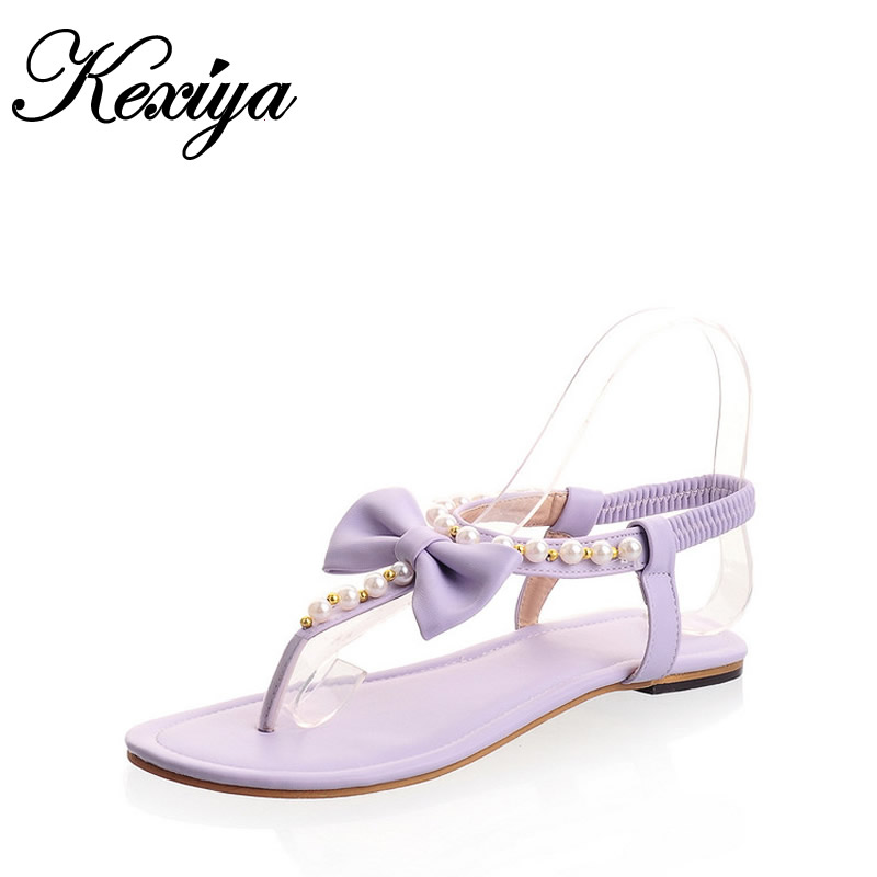 ФОТО Hot sale! Fashion sweet style women shoes String Bead flats bowknot decoration Thong sandals small size 31 32 33 HXZ-X-10