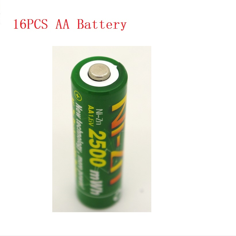 16Pcs NiZn Ni Zn 1 6V AA 2500mWh Rechargeable Battery