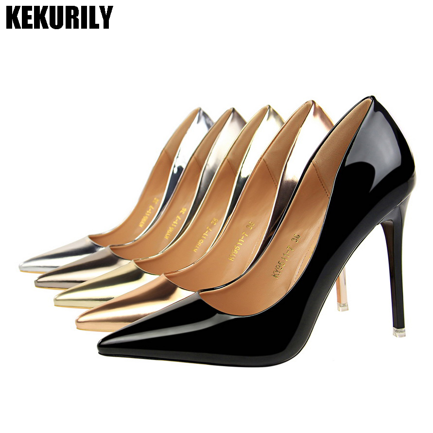Shoes Woman Patent Leather Slip on Pumps High Heels Sandals Pointed Toe Slides Metal Color Balck Bronze Gold Silver Champagne shoes woman flock metal decoration pumps high heels sandals slip on pointed toe shoes shallow balck red pink gray khaki green