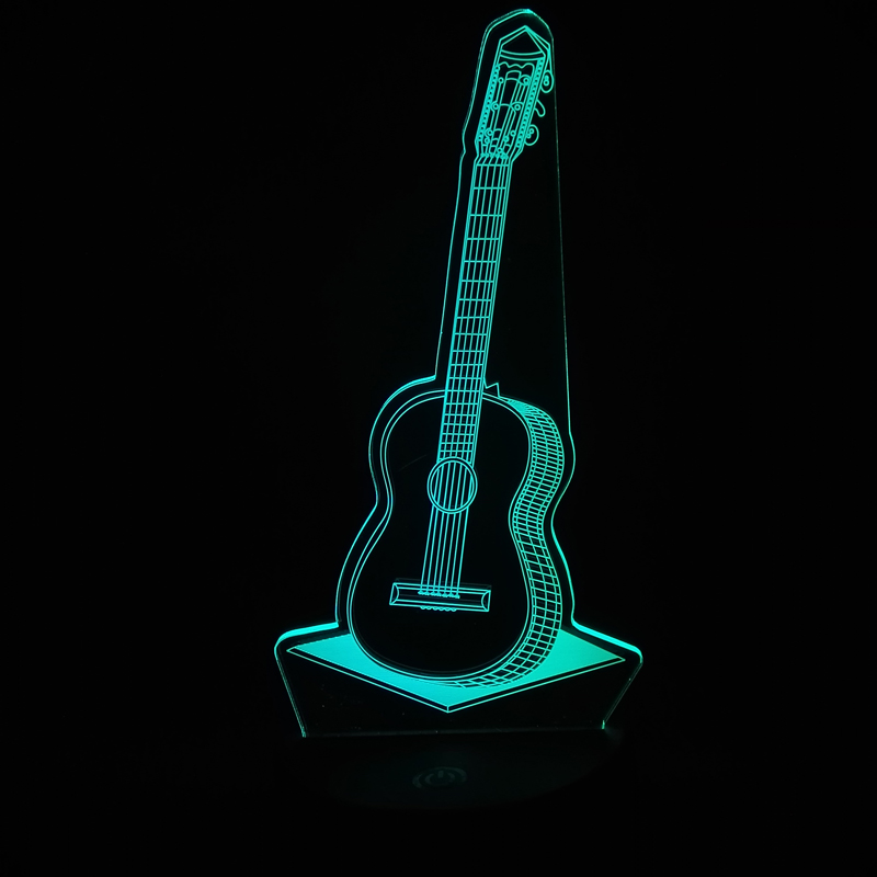 2017 Creative POP Country Music Guitar 3D USB LED Lamp 7 Color Change RGB Night Light Bedroom Decor Lighting Musical Instruments cool skull middle finger 3d skull decor 3d usb led lamp pop rock music boy room decor 7 colors change night light visual illusio