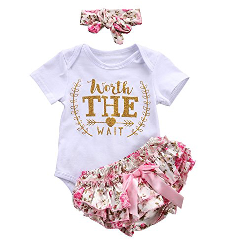 3PCS/Set Cute Newborn Baby Girl Worth The Wait Baby Bodysuit Romper+Ruffles Tutu Skirted Shorts Headband Clothes Outfits 2017 floral baby romper newborn baby girl clothes ruffles sleeve bodysuit headband 2pcs outfit bebek giyim sunsuit 0 24m