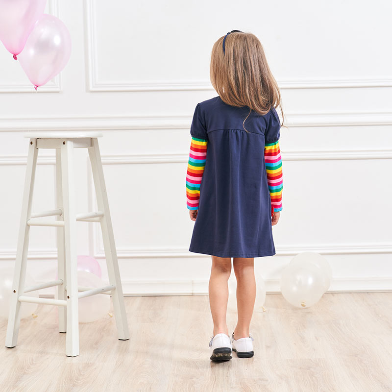 HTB1UO.jdl1D3KVjSZFyq6zuFpXa4 VIKITA Girls Cotton Dress Long Sleeve Children Patchwork Vestidos Kid Dresses for Girls Clothes Toddlers Cartoon Princess Dress