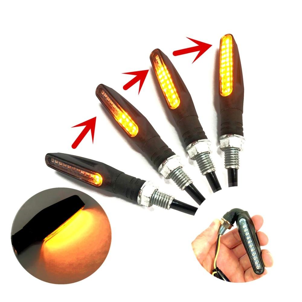 2pcs Motorcycle Turn Signal Light LED Flowing Water Amber Blinkers Flexible Bendable Indicator Flashers Lamp for Honda Yamaha