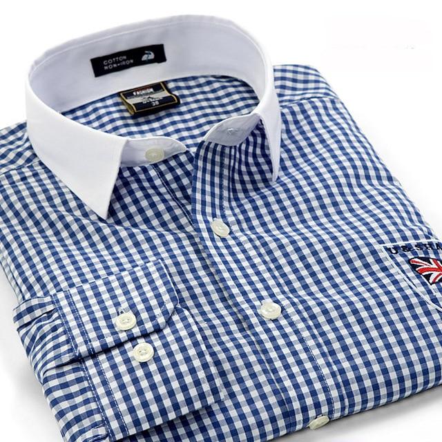 0cc9d3ec2a5 2017 Fashion Brand Casual shirts pathwork white collar men plaid shirt  England style cotton long sleeve