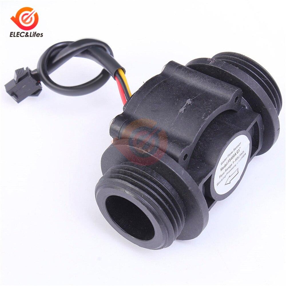 DN25 Water Level Sensor Switch Liquid Flow Meter Counter Vertical/Horizontal Hall Flow Sensor FS400A G1'' DC 5-24V 1-60L / Min