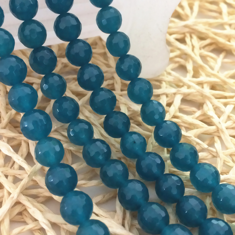 "8mm Jade Dyed Turquoise Round Beads 40 cm 15/"" Gemstone"