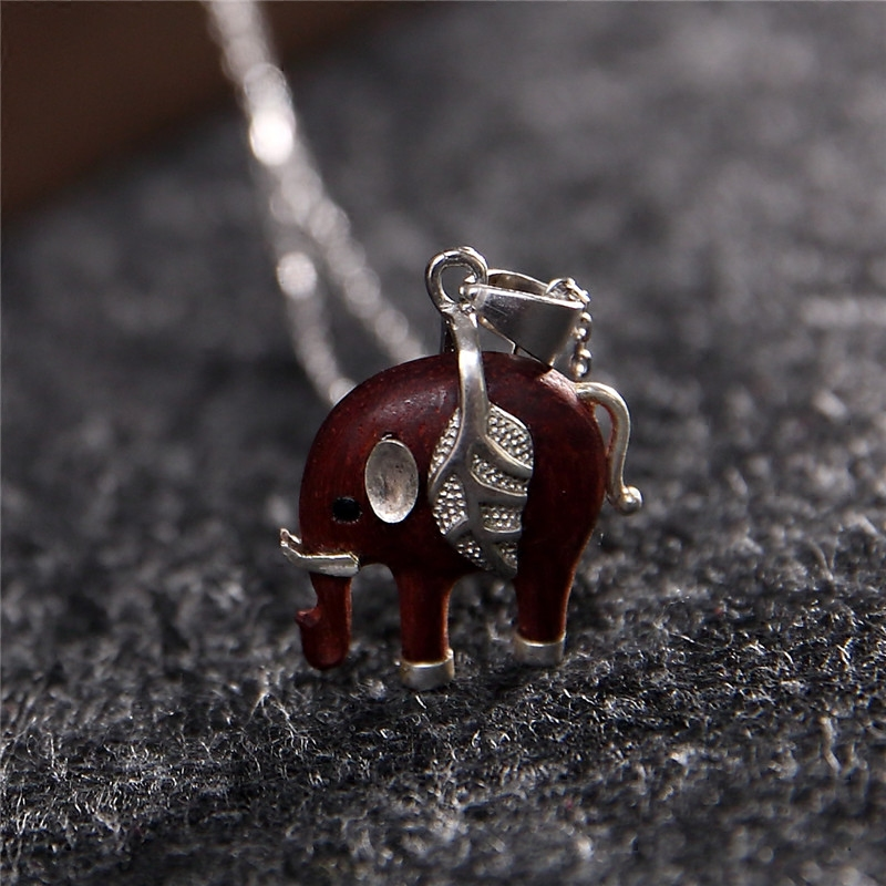 Creative Cute Elephant Necklace Girlfriend Birthday Gift Valentine s Day  Romantic Pedant 925 Silver+Rosewood for 488a6f0e7f2e