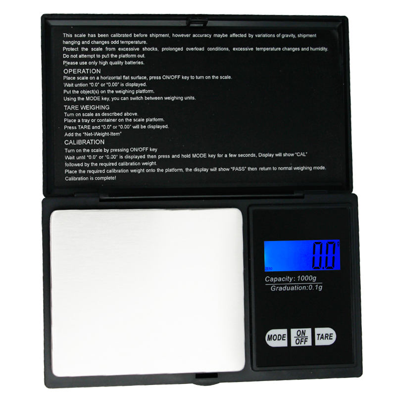 50pcs/lot 1000g 0.1g scale Mini LCD 1kg scales Pocket Digital jewels kitchen scales with retail box 20% off