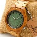 M006 Bobobird Mens Top Design Da Marca Verde Mostrador Cheio de Bambu de Madeira De Madeira Relógios De Quartzo Japão 2035 Movimento Miyota