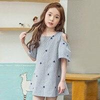 2017 Summer Girl Dress New Korean Striped Princess Dress Sleeves Kids Girls Dress With Bear Or