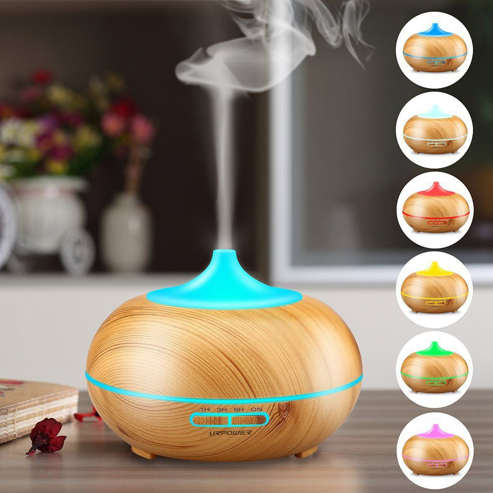 300ml Wood Grain Ultrasonic Cool Mist Humidifier-7 Color Aromatherapy Oil Diffuser & 4 Timer Settings