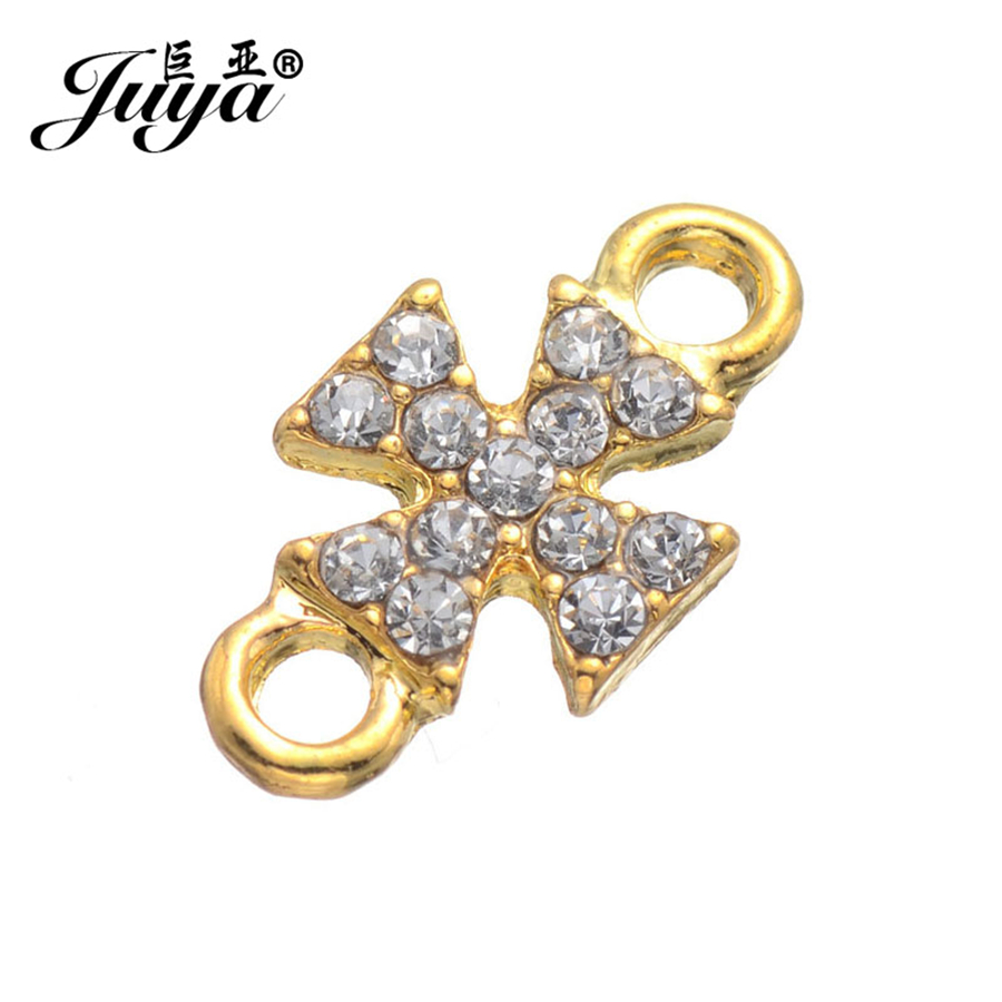 JUYA cross shape connectors for bracelet making 5pcs/lot 17.2x9.2mm with diamonds China Diy Jewelry Findings Supplies AS0001