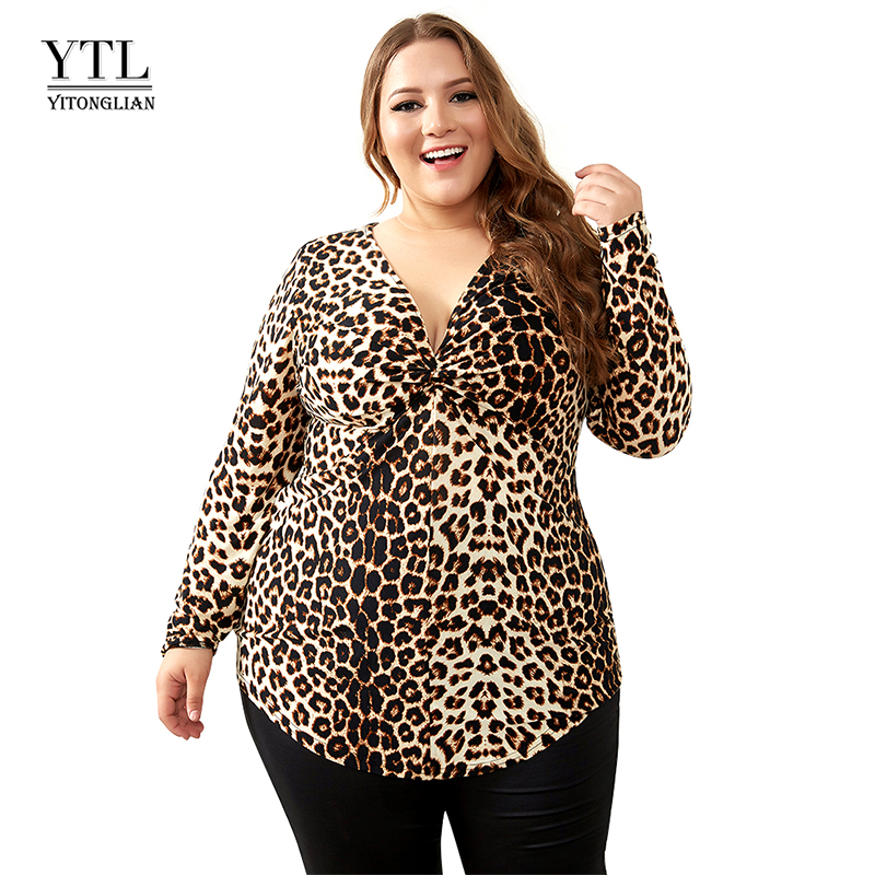 YTL Weibliche Große Größe Frühling Herbst Grau Leopard Tiefem V-ausschnitt Langarm Schlank Tunika Top Große Größe Blusen Frauen 5XL 6XL 7XL H088