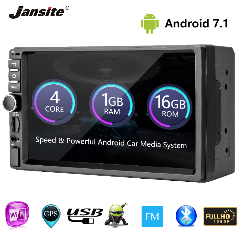 "Jansite 7"" 2 Din Multimedia Android player car audio memory playback 1024*600 Touch Capacitive Screen mirror link GPS FM Maps"