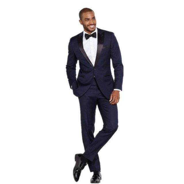 New Men\'s suits, Black Lapel handsome Groom Tuxedos Navy Blue Men ...