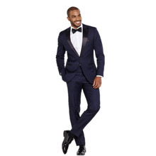 New Men's suits, Black Lapel handsome Groom Tuxedos Navy Blue Men Suits Wedding Best Man  suits (Jacket+Pants)