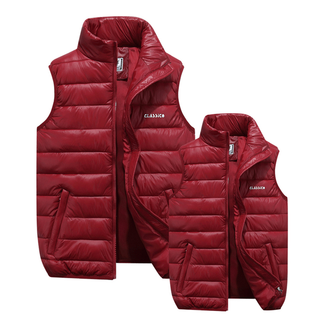 2016fashion lovers in winter to keep warm Down feather cotton vest/Men women standing collar pure color black red blue warm vest