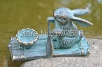 Pure Copper Rabbit Bunny On Bamboo Raft Patinated Art Metal Candle Holder Mouse Rowing A Leaf