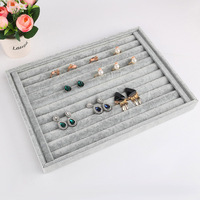 Gray Jewelry Box Velvet Bracelet Earring Necklace Ring Beads Compartment Display Stand Holder Storage Organizer Rack