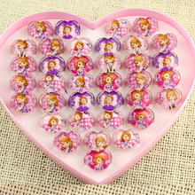 2017New Wholesale Jewelry Lots 36pcs a box Free Shipping Lovely Mix Resin Cartoon Girls Princess Sophia the First Children Rings