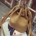 2017 Novas Mulheres de Couro Borla Casuais Balde Saco Das Senhoras Pequeno saco do mensageiro saco de Ombro Saco pequeno saco crossbody bolsas para mulheres