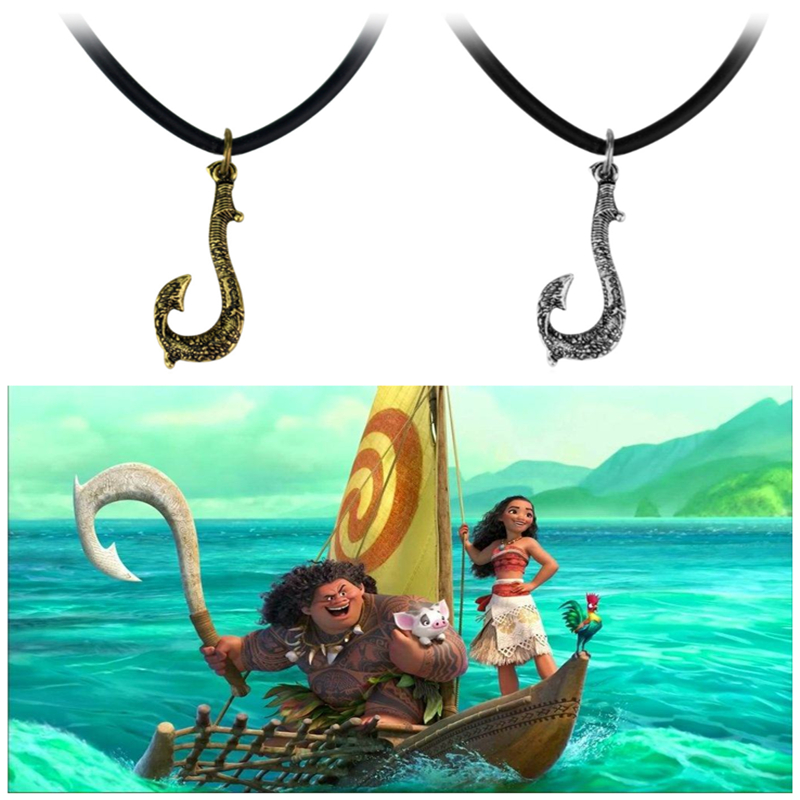 Maui/'s Fish Hook or collier pendentif Moana Cuir Corde Movie Cosplay