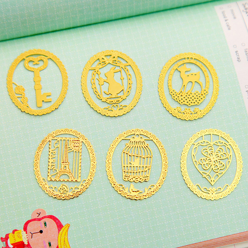 42 Pcs/Lot Metal Bookmark Cute Cat Rabbit Animal Book Marker Golden Plated Key Stationery Office School Supplies Segnalibro F833