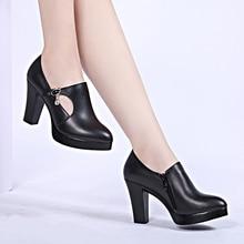 genuine leather shoes women heels pumps female black shoes platform pumps sy-2105