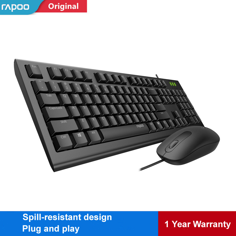 rapoo x120pro usb wired keyboard mouse combo optical mouse spill resistant keyboard set for. Black Bedroom Furniture Sets. Home Design Ideas