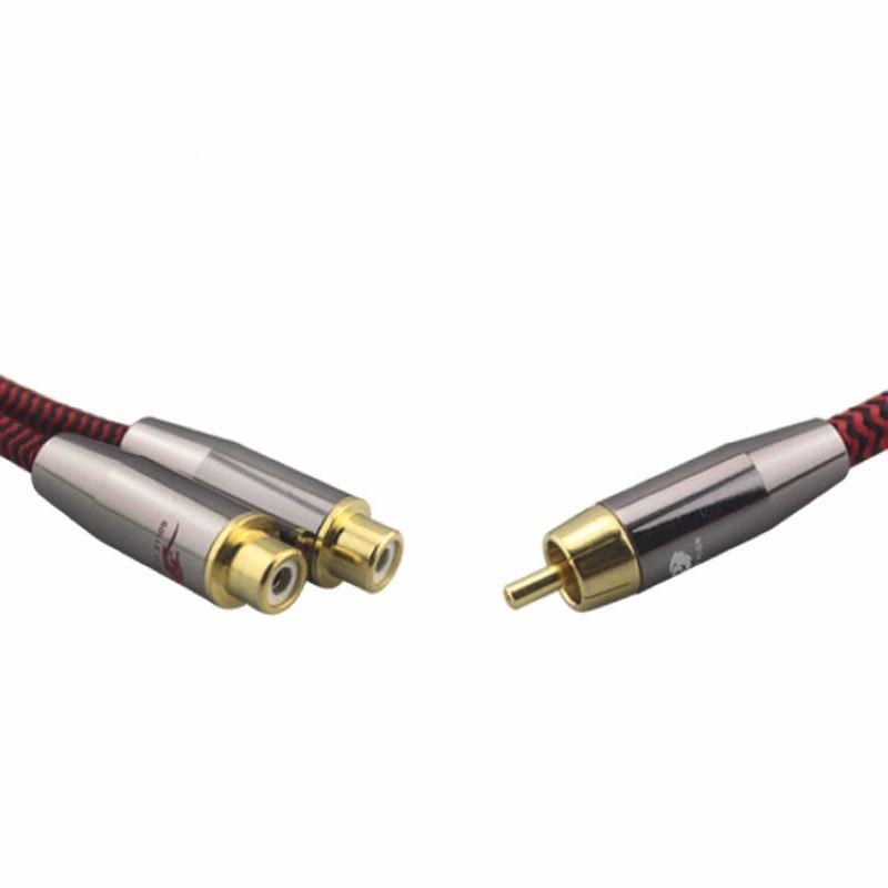 Cinch stecker auf 2 Cinch buchse Audio Lautsprecherkabel Subwoofer ...