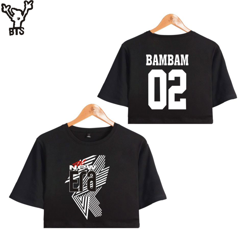 GOT7 FM 2018 The New Era Summer BAMBAM 02 Idols Sexy Bare Midriff Top Women Hot Sale T-shirts Sexy Short Sleeve Crop Top A8080