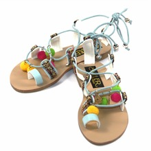 SKYLER Summer Sandals Kids Shoes Ethnic Lace-Up Fashion Set Of Toe Children Comfortable Pom Pom Sandals Non-Slip Flat Girls Shoe