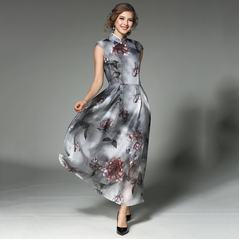 ENOTrading Store Vintage Summer Maxi Dresses Women 2017 Stand Collar Vestidos Mujer Floral Printed Petal Sleeves Female Robe Plus Size Dress N618