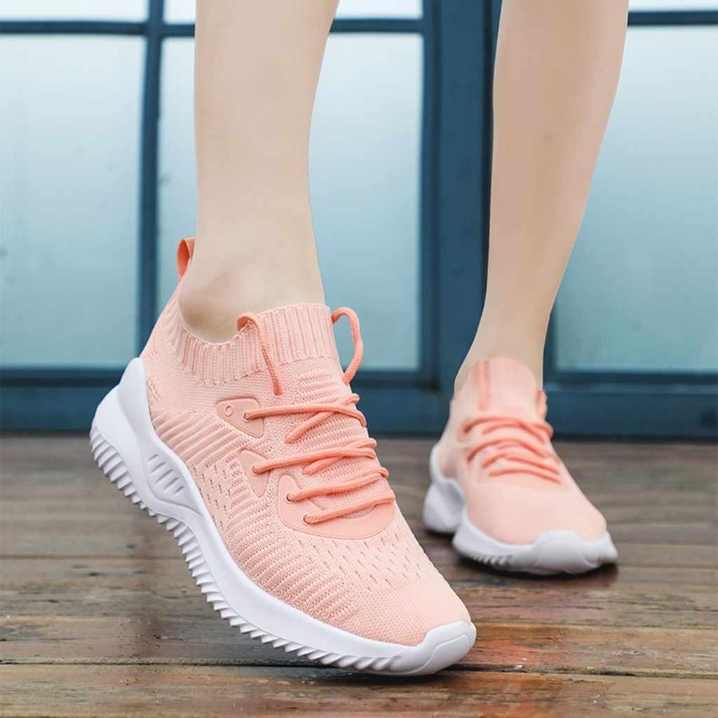 Kancoold スニーカー靴女性のスポーツの靴女性のレースアップメッシュ通気性ライト女性カジュアルランニングシューズ 2019